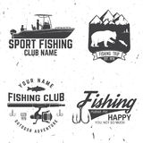 Fishing sport club. Vector illustration. Fishing club. Vector illustration. Concept for shirt or logo, print, stamp or tee. Vintage typography design with fish Stock Images