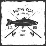 Fishing sport club. Vector illustration. Concept for shirt or logo, print, stamp or tee. Vintage typography design with fish rod and rainbow trout silhouette Stock Image