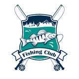 Fishing sport club vector sign Royalty Free Stock Photo