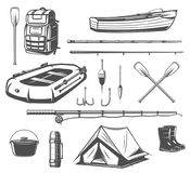 Fishing sport equipment sketch of fisherman tackle. Fishing sport equipment sketch set of fisherman tackle and tool. Fishing rod, hook and bait, boat, spinning stock illustration