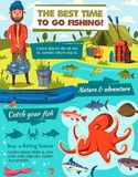Fishing sport and fisher catch tackles equipment vector illustration