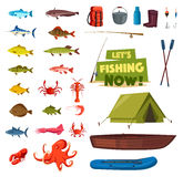 Fishing sport icon with fish, boat, rod, tackle. Fishing sport cartoon icon set. Fish, fishing rod, boat and tackle, fisherman catch and equipment, tourist tent Stock Photography