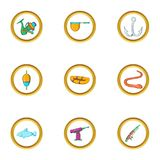 Fishing sport icon set, cartoon style Royalty Free Stock Images