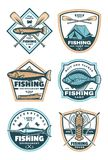 Fishing sport icons set. Fishing creative icons with swordfish and salmon. Vector badges for tournament or tours. Vintage emblems and labels for fishing sport Stock Images