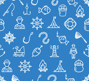 Fishing Sport and Leisure Pattern Background. Vector. Fishing Sport and Leisure Pattern Background on Blue Outdoor Recreation. Vector illustration Royalty Free Stock Image