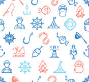 Fishing Sport and Leisure Pattern Background. Vector Royalty Free Stock Photography