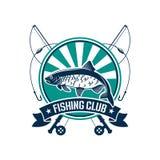 Fishing sport round emblem for fisherman club icon Royalty Free Stock Photo