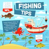 Fishery and fishing from boat, vector vector illustration