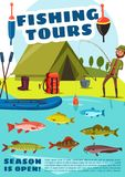 Fishing sport tours with camping, vector royalty free illustration