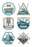 Fishing vintage badge with fish, rod and hook. Fishing sport vintage shield badge with fisherman equipment and fish catch. Fish, crab and lobster, rod, hook and royalty free illustration