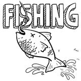 Fishing sports sketch. Doodle style fishing sports illustration. Includes text and fish caught on a hook Stock Photos