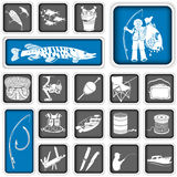 Fishing squared icons Stock Images