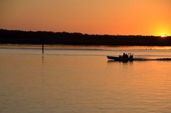 Fishing on St. Augustine river at sunset Stock Photo