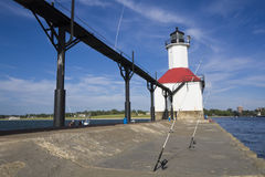 Fishing by St. Joseph Lighthouse Stock Photos