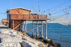 Fishing station in Sottomarina dam, Italy Stock Photos