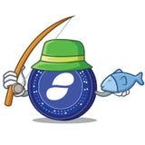 Fishing Status coin mascot cartoon. Vector illustration Royalty Free Stock Images