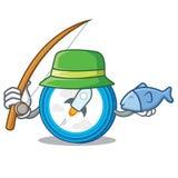 Fishing stellar coin character cartoon. Vector illustration Royalty Free Stock Image