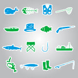 Fishing stickers set eps10 Stock Photo