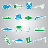 Fishing stickers set eps10. 16 fishing stickers set eps10 Stock Photo