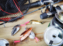 Fishing still life Stock Photos