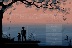 Fishing store, concept of advertising signboard Stock Photo