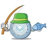 Fishing Stratic coin mascot cartoon. Vector illustration Stock Image
