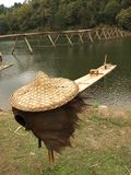 Fishing and straw hat Stock Photography