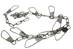 Fishing Stringer. Isolated stainless steel fishing stringer used to hold onto caught fish Stock Image