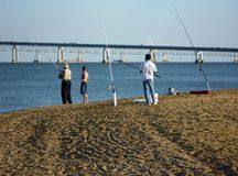 Fishing for Striped Bass at Sandy Point Royalty Free Stock Photography