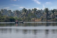 Fishing style in backwaters of kerala stock photo