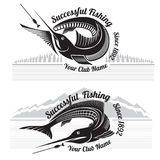Fishing style labels with fish and landscapes forest and mountains Royalty Free Stock Photo