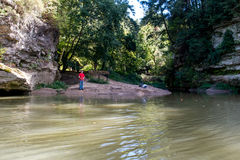 Fishing on sugar creek in indiana Royalty Free Stock Photos