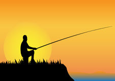 Fishing when sun goes down Royalty Free Stock Image
