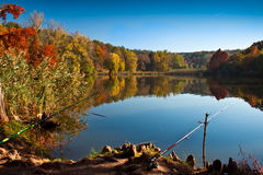 Fishing on Sunday. Autumn walk in the park Lipnik Royalty Free Stock Images