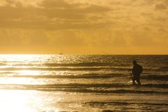 Fishing Sunet royalty free stock images