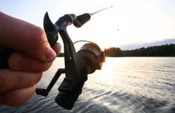Fishing at Sunrise Stock Photos