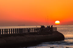 Fishing Sea Sunrise Pier Horizon Royalty Free Stock Photo