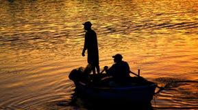 Fishing & sunset Stock Photo