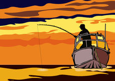 Fishing in the sunset. Fisherman fishing till the sn goes down Royalty Free Stock Images
