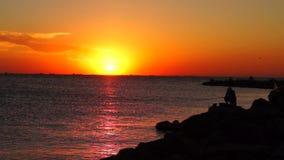 Fishing at sunset at Azov sea stock video