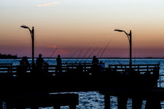 Fishing at Sunset. A crowd of people fishing in sillouette at sunset Stock Photos