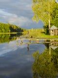 Fishing at sunset, Europe Royalty Free Stock Photography