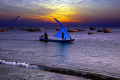 Fishing at sunset in India Royalty Free Stock Image
