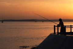 Fishing sunset. Fishing on sunset lake summer Stock Photos