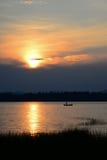 Fishing at sunset landscape Royalty Free Stock Photo