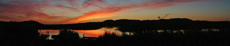 Fishing at Sunset - Panoramic Royalty Free Stock Images