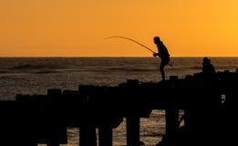 Fishing Sunset Royalty Free Stock Photo