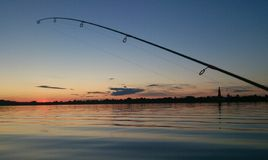 Fishing. At sunset on Uglich Reservoir Stock Photos