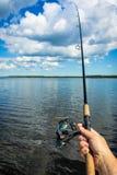 Fishing in Swedish lake Royalty Free Stock Photography