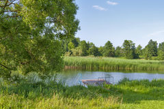 Fishing and swimming place on river Ros Stock Images